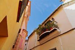 Balcony with flowers in Malaga. Spain stock photos