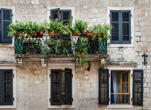 Balcony with flowers. Mediterranean house with shutters and balcony with flowers. Kotor, Montenegro Royalty Free Stock Photography