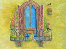 Balcony with flowers. Balcony with plant flowers oil painting Royalty Free Stock Photo