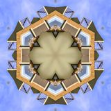 Balcony fractal photo made from real estate image. Geometric kaleidoscope pattern on mirrored axis of symmetry reflection. Colorful shapes as a wallpaper for royalty free illustration