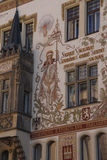 Balcony and  fresco of Storch House. PRAGUE - AUG 31, 2016 - Balcony and  fresco of Storch House,  Prague, Czech Republic Royalty Free Stock Photo