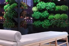 Balcony Garden. A self made balcony garden with a massage sofa to relax on and take in the view Royalty Free Stock Images