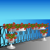 Balcony with geraniums Stock Photos