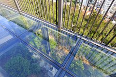 Balcony transparent glass floor, adobe rgb. Balcony glass floor on huwei hill, xiamen city, fujian province, china. glass floor is terrible and exciting stock image