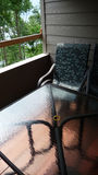 Balcony with Glass Table Stock Photo