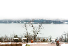 Lake Plastira panorama in a foggy morning royalty free stock images