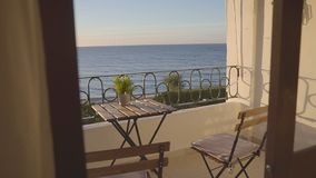 Balcony at the hotel with excellent sea views stock video