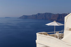 Balcony of hotel in Oia with view on caldera Stock Photos