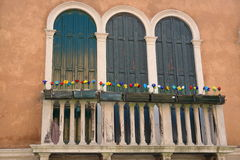 Balcony of a house on Murano island. Venice, Italy royalty free stock images