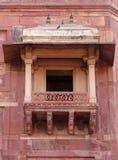 A balcony inside Jodha Bai Palace in Fatehpur Sikri complex. Fatehpur Sikri, India, built by the great Mughal emperor, Akbar stock photo