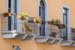 Balcony with iron railing in classic style Royalty Free Stock Photos