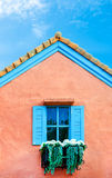 Balcony Italian style house with blue nice sky and green leaf Stock Photography