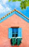 Balcony Italian style house with blue nice sky and green leaf Royalty Free Stock Images