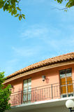 Balcony Italian style house with blue nice sky and green leaf Royalty Free Stock Image