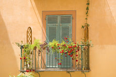 Balcony of italy. View of a colourful balcony in italy Stock Photo