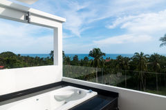 Balcony with jacuzzi Royalty Free Stock Photos