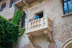 Balcony of Juliet with turists in Verona Stock Photo