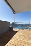 Balcony, lake panoramic view. Modern apartment, balcony, lake panoramic view royalty free stock image