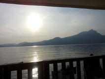 Balcony on the lake. Sunset from a balcony on Garda Lake Royalty Free Stock Images