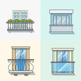 Balcony linear outline architecture building eleme. Nt set. Linear stroke outline flat style vector icons. Color icon collection Royalty Free Stock Images