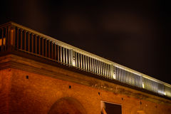 Balcony. A lit roof balcony by night royalty free stock photos