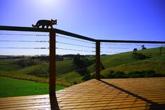 Balcony look out countryside landscape with blue sky and mountains