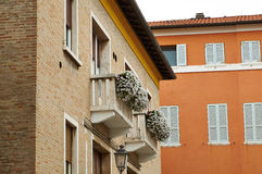 Balcony with luxurious white flowers. Narrow streets of the old town of Senigallia. Ancona. Balcony with luxurious white flowers Royalty Free Stock Photography