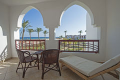 Balcony in luxury tropical resort Royalty Free Stock Image