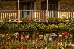 Flowers on balconies Royalty Free Stock Photo