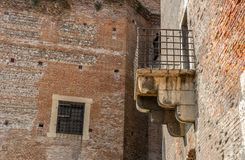Balcony of a medieval Fortress. Balcony of the medieval castle in Verona in Italy Stock Photo