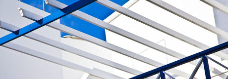 Balcony of a Mediterranean building under blue sky Royalty Free Stock Photography