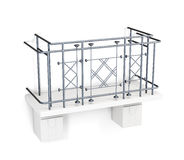 Balcony with a metal fence on a white background. 3d render imag Royalty Free Stock Image