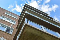 The balcony of the modern condo building. In Bois Franc Montreal, Canada Royalty Free Stock Photos