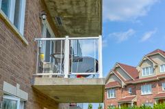 The balcony of the modern condo building. In Bois Franc Montreal, Canada Royalty Free Stock Images