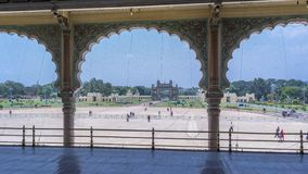 Balcony of the Mysore Palace amid Artistic Arches royalty free stock images