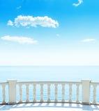 Balcony near sea and blue sky over it Stock Photos