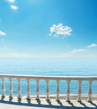 Balcony near sea with clouds in sky Royalty Free Stock Image