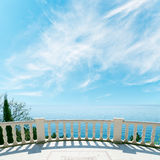 Balcony near sea and cloudy sky Royalty Free Stock Photos