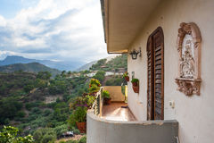 Balcony and nice view over the mountain in Sicily Stock Photo