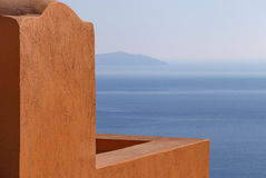 Balcony in Oia with view on caldera Royalty Free Stock Photos
