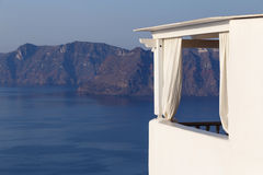 Balcony in Oia with view on caldera Stock Photos