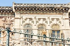 Balcony in old baroque building in Catania, traditional architecture of Sicily, Italy.  royalty free stock photo