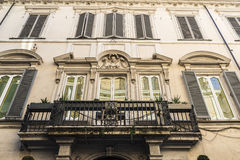 Balcony of an old classic building in Rome, Italy. Balcony of an old classic decor building in the historical center of Rome, Italy Royalty Free Stock Photos