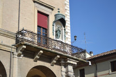 Balcony of old medieval building on Piazza Cavour Royalty Free Stock Photography
