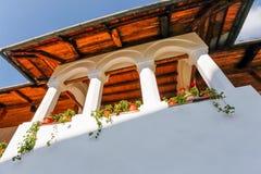 Balcony from the old orthodox Polovragi monastery Stock Photos