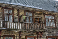Balcony old wooden house Stock Images