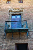 Balcony with Ornate Railing and Door, Barcelona Royalty Free Stock Photos