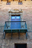 Balcony with Ornate Railing and Door, Barcelona Stock Images