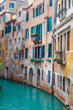 Balcony over lateral canal in Venetia Royalty Free Stock Photos