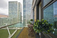 Balcony overlooking canary wharf and docks. Contemporary balcony overlooking canary wharf and docks Royalty Free Stock Photography